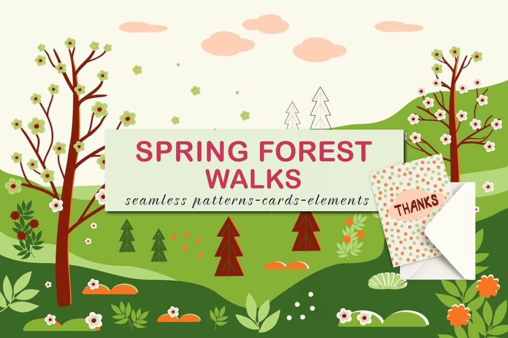 Spring forest walks. Vector design.