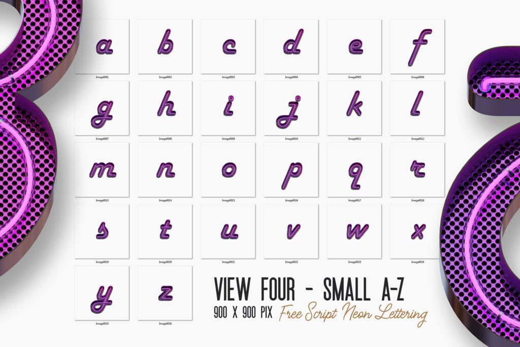 Free Script Neon 3D Lettering