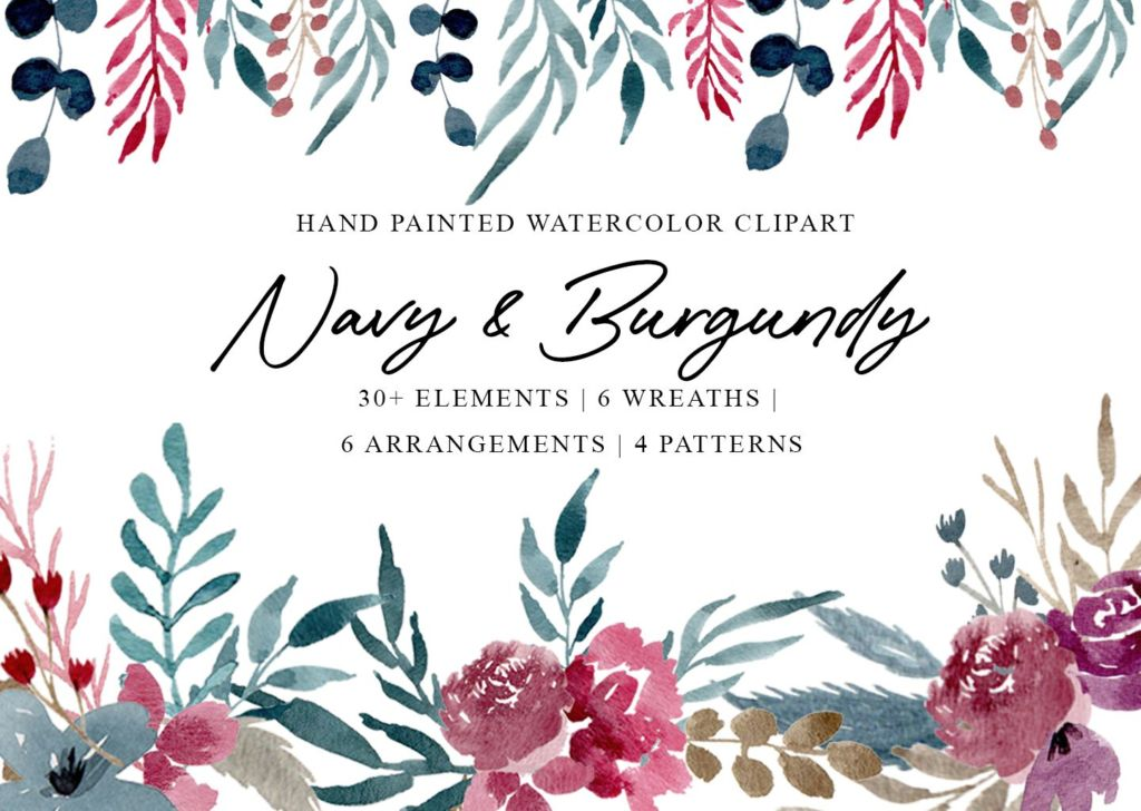 FREE NAVY & BURGUNDY WATERCOLOR GRAPHICS