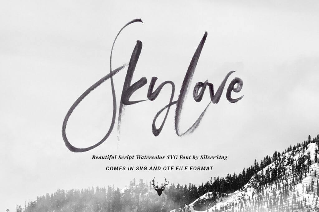 SkyLove SVG Hand Drawn Watercolor Script Font