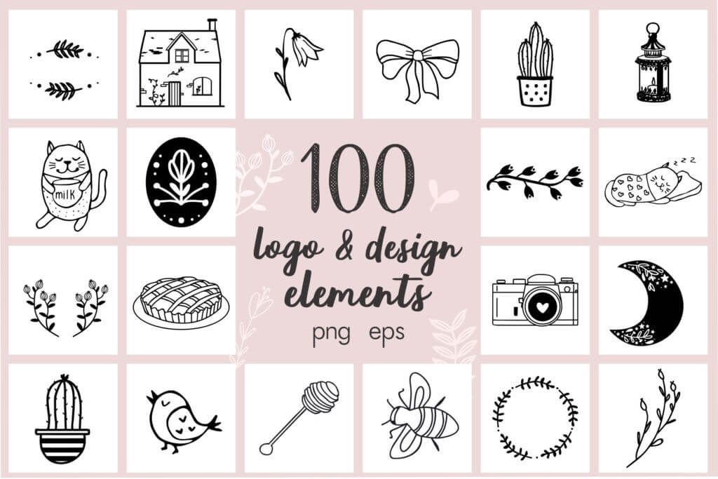100 Hand Drawn Elements Cozy Little Shop