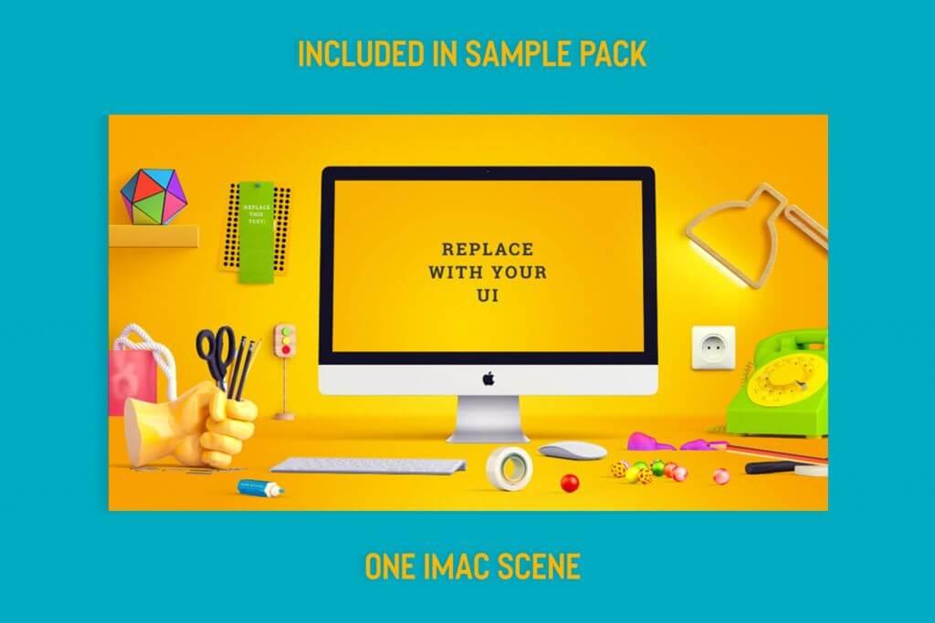 Free: iMac Scene Mockup