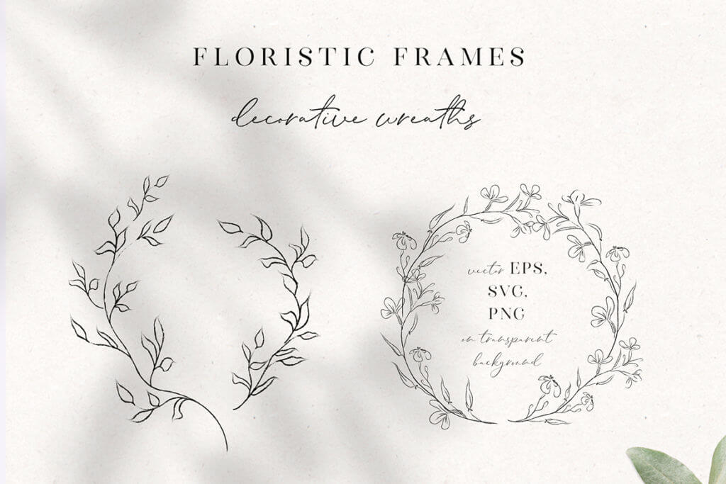 Line Drawing, Floral Wreaths, Sprigs & Wreaths