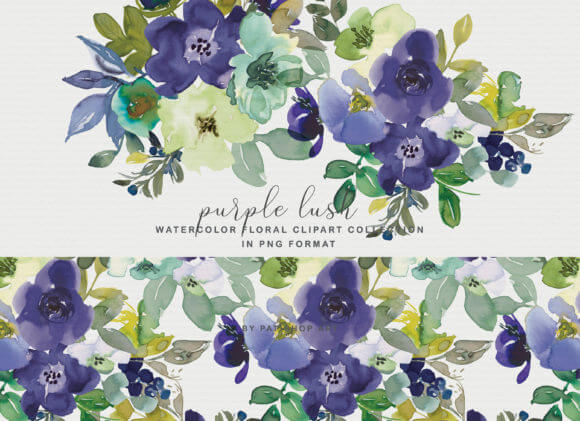 Purple Watercolor Floral Clipart Set