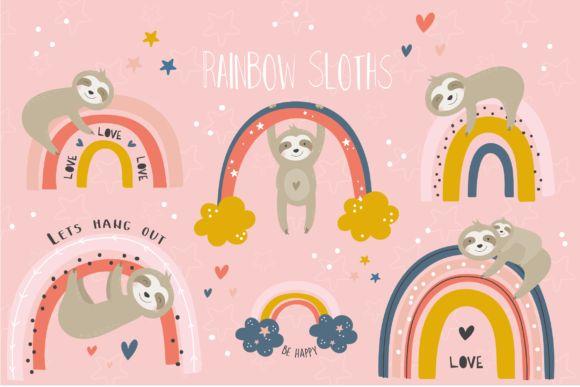 Rainbow Sloths Clipart