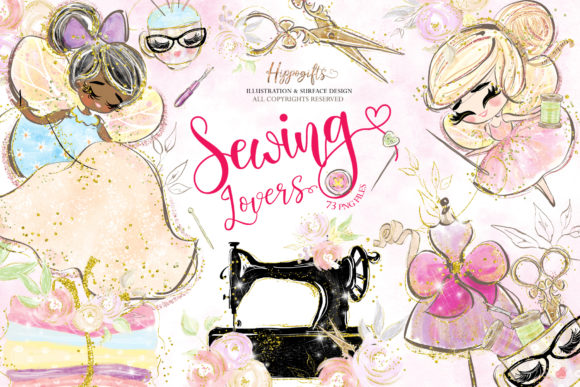 Sewing Lovers and Fairies Clipart