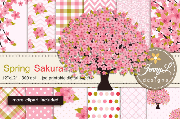 Spring Cherry Blossoms Digital Papers