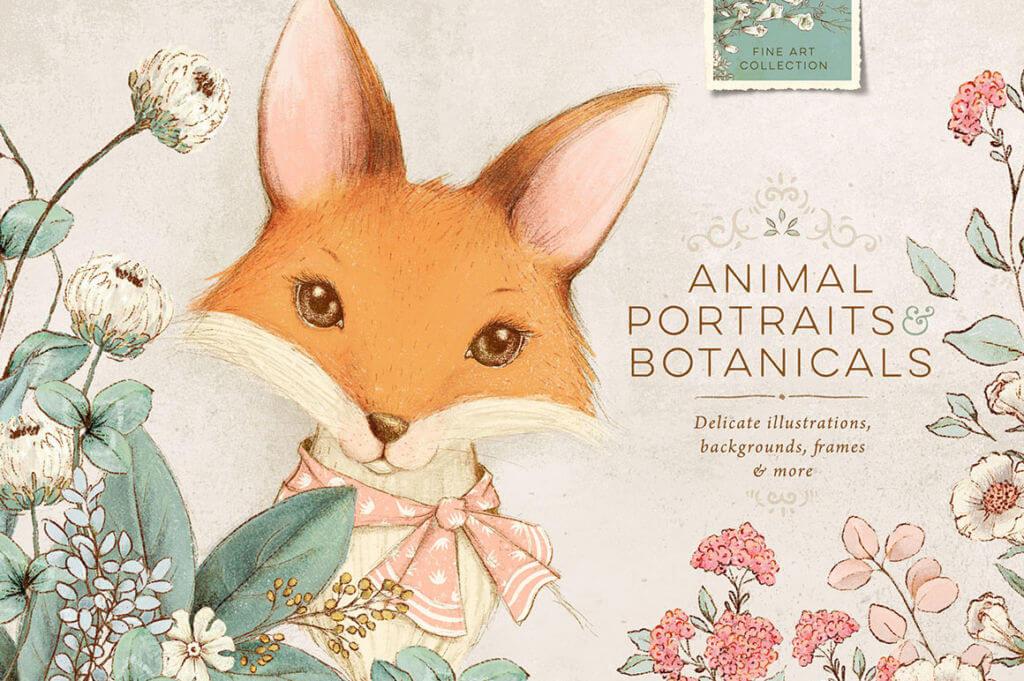 VINTAGE INSPIRED ANIMALS PORTRAITS & BOTANICALS