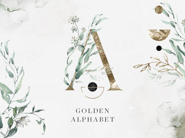 Golden Alphabet Clipart
