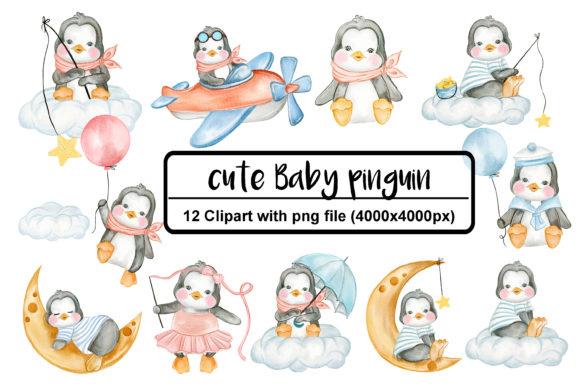 Set of Cute Penguin Watercolor
