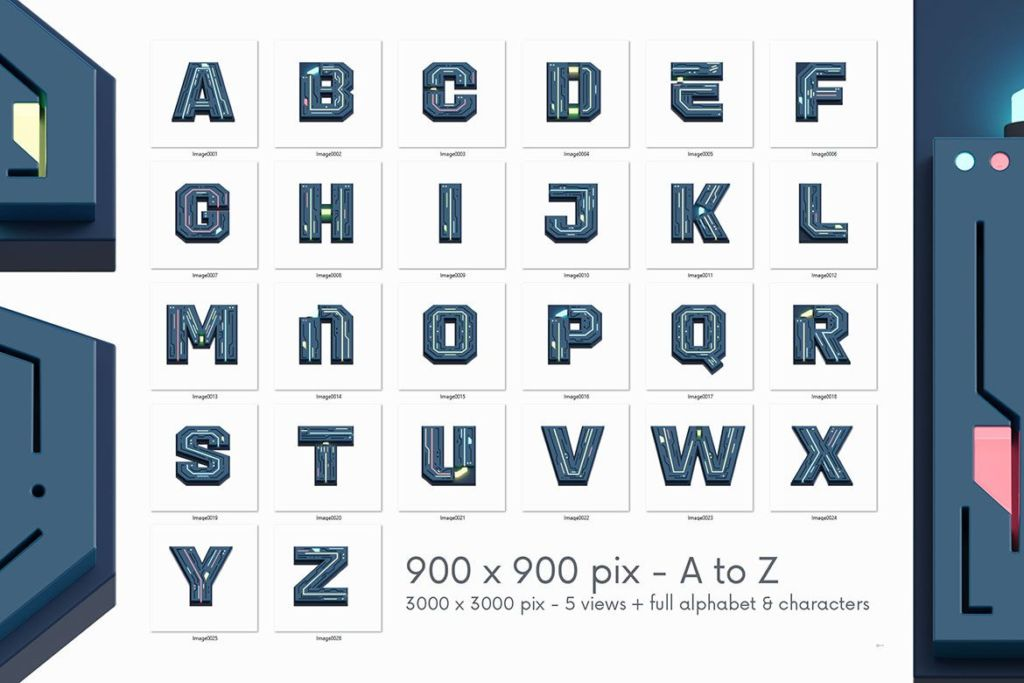 Free Futuristico 3D Lettering