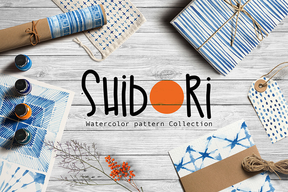 Shibori Indigo Watercolor Collection