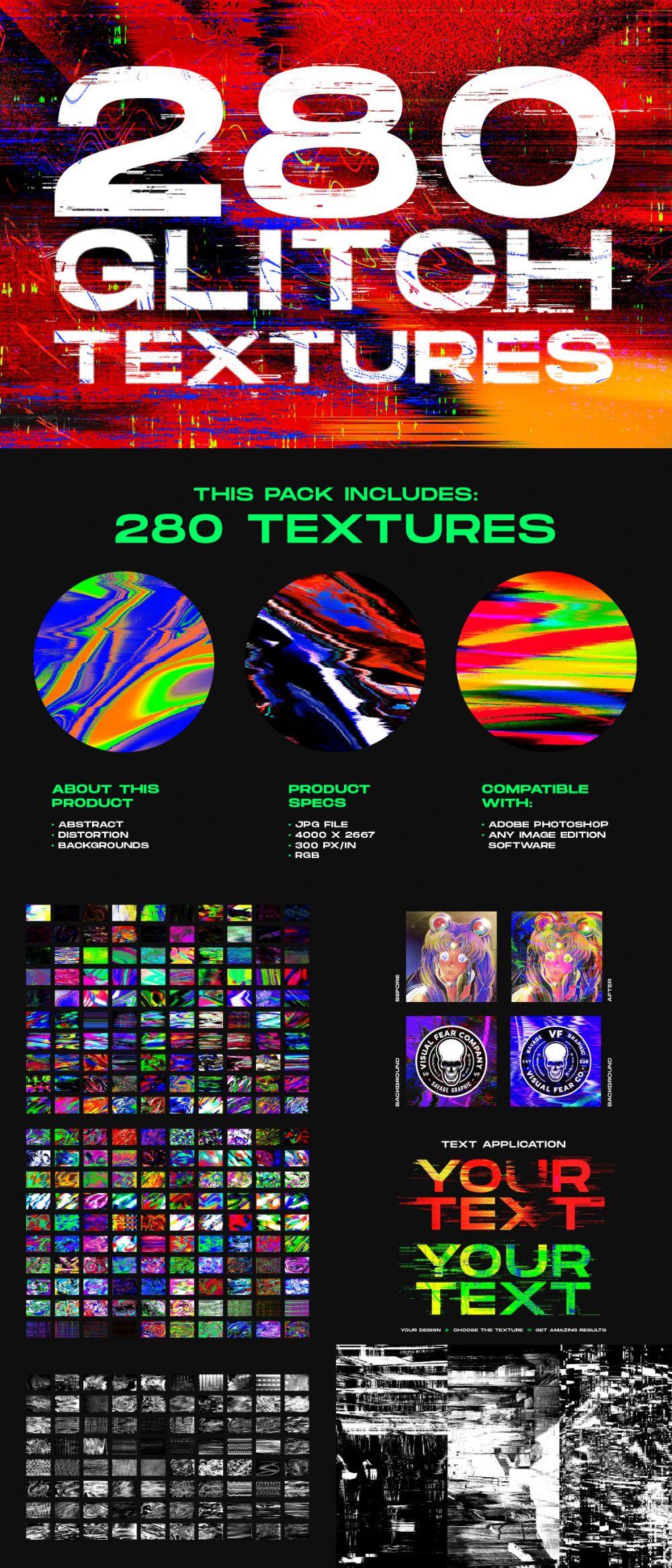 280 Glitch – Distortion Effect Texture Pack