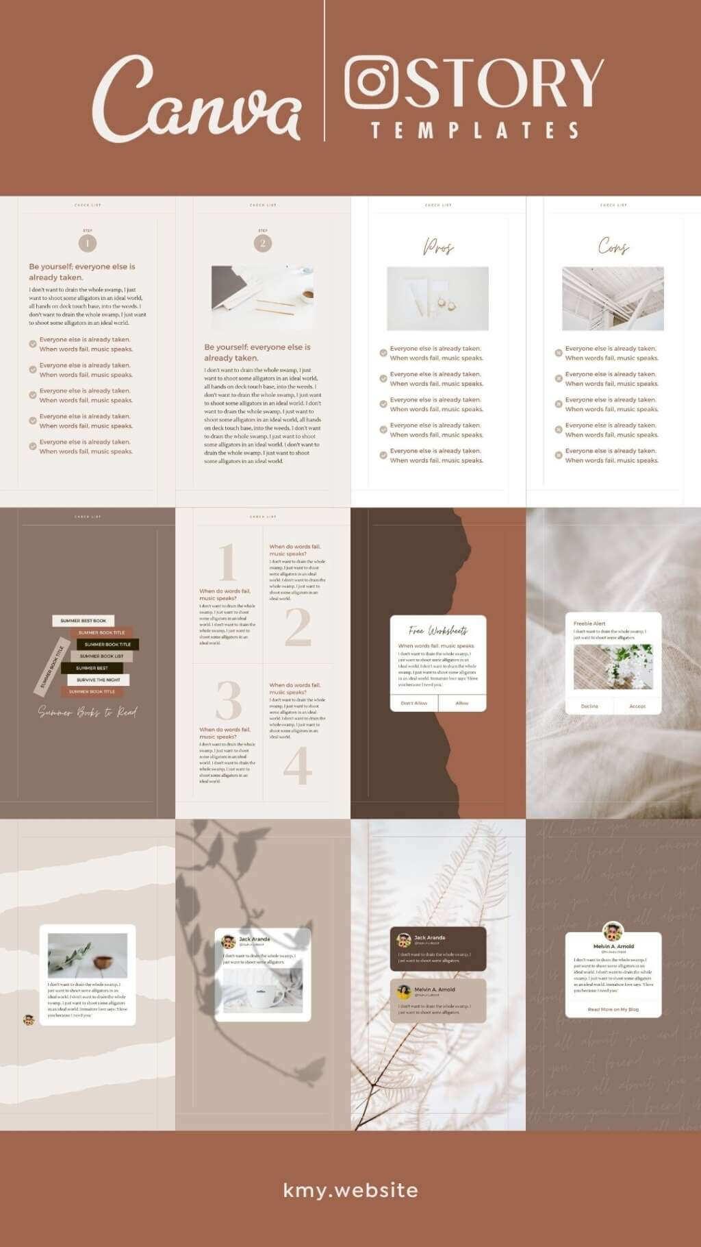 Instagram Story Reel Template Canva - Editable Clean Minimum Beige Brown Carousel IG Social Media Post Pack - Quotes, Notification, CTA