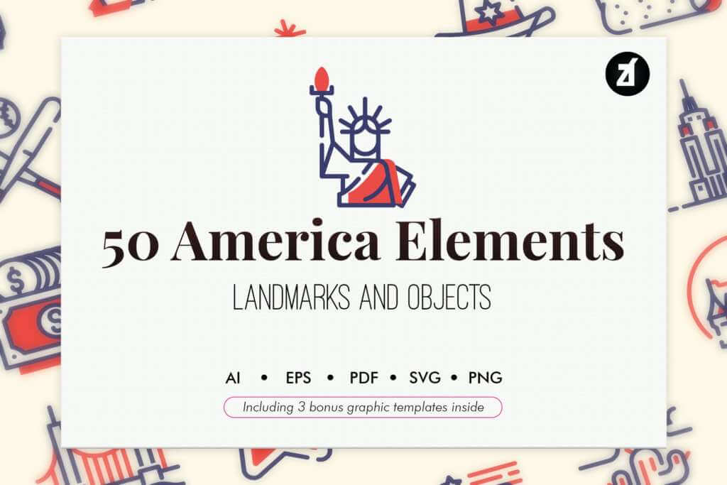 50 USA elements with bonus graphic templates