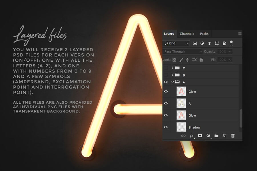 Neon alphabet kit