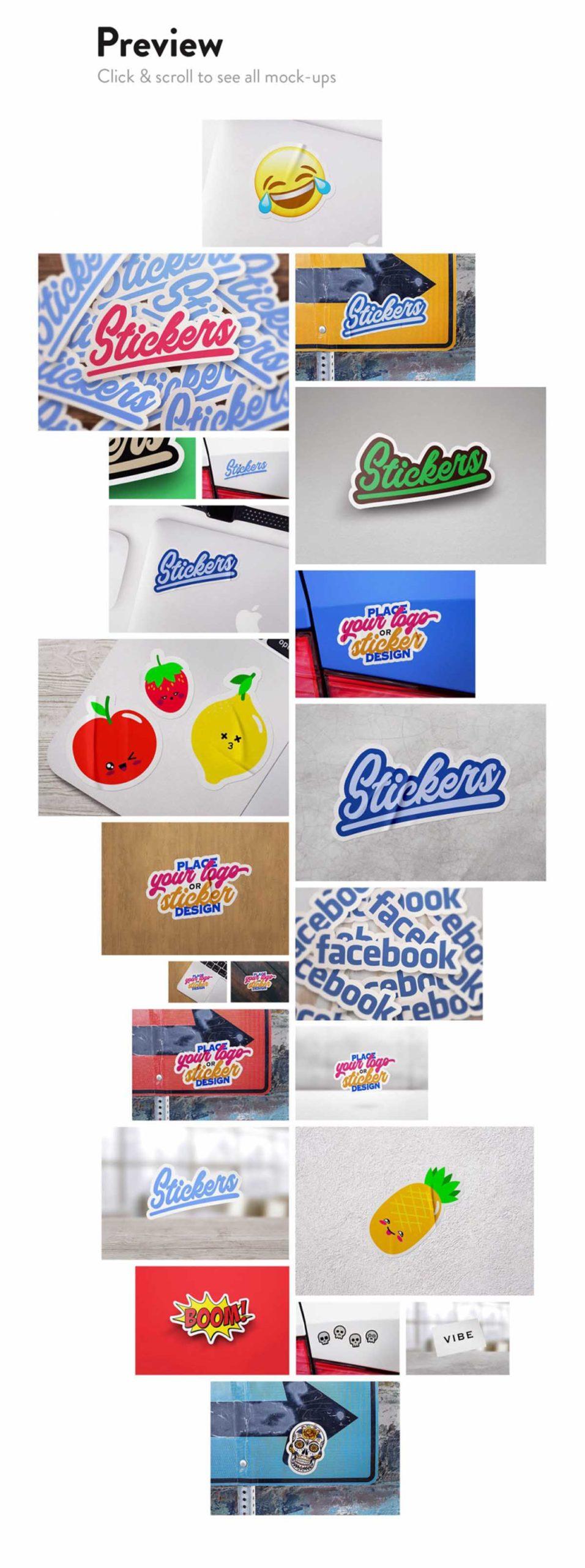 8 Sticker & Logo Mockup Bundle