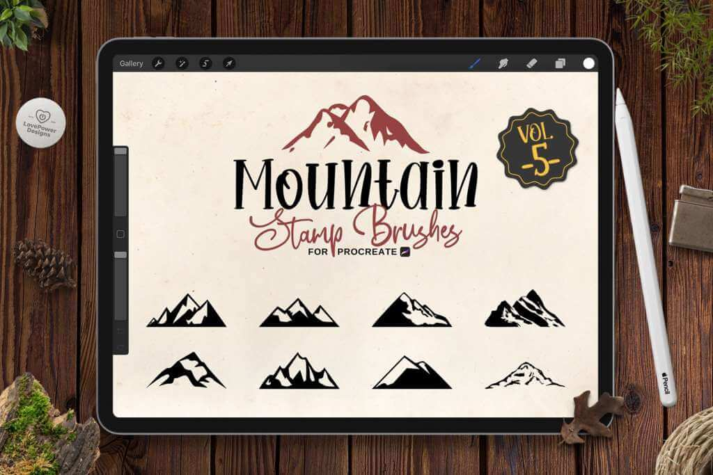 Mountain Stamp Brushes for Procreate