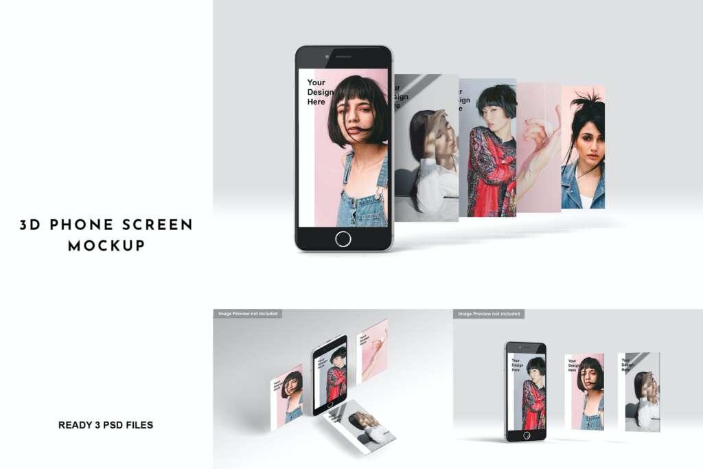 3D Phone Screen Mockup