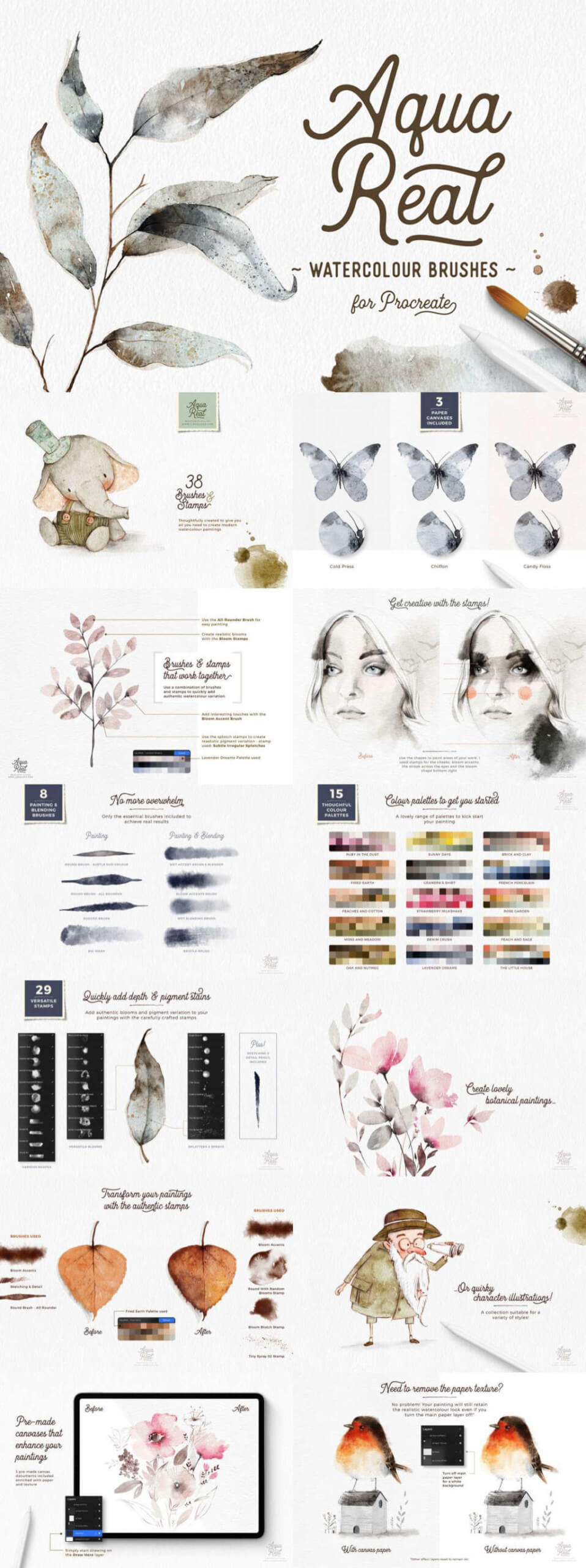 AQUAREAL WATERCOLOUR BRUSHES FOR PROCREATE