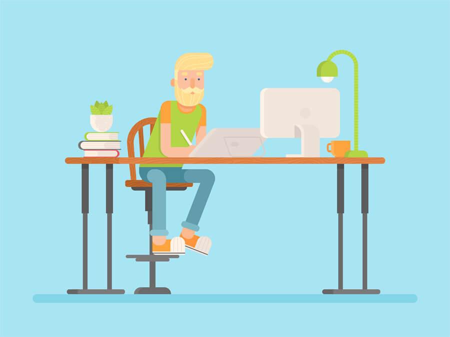 Adobe Portfolioを使う金髪のウェブデザイナー