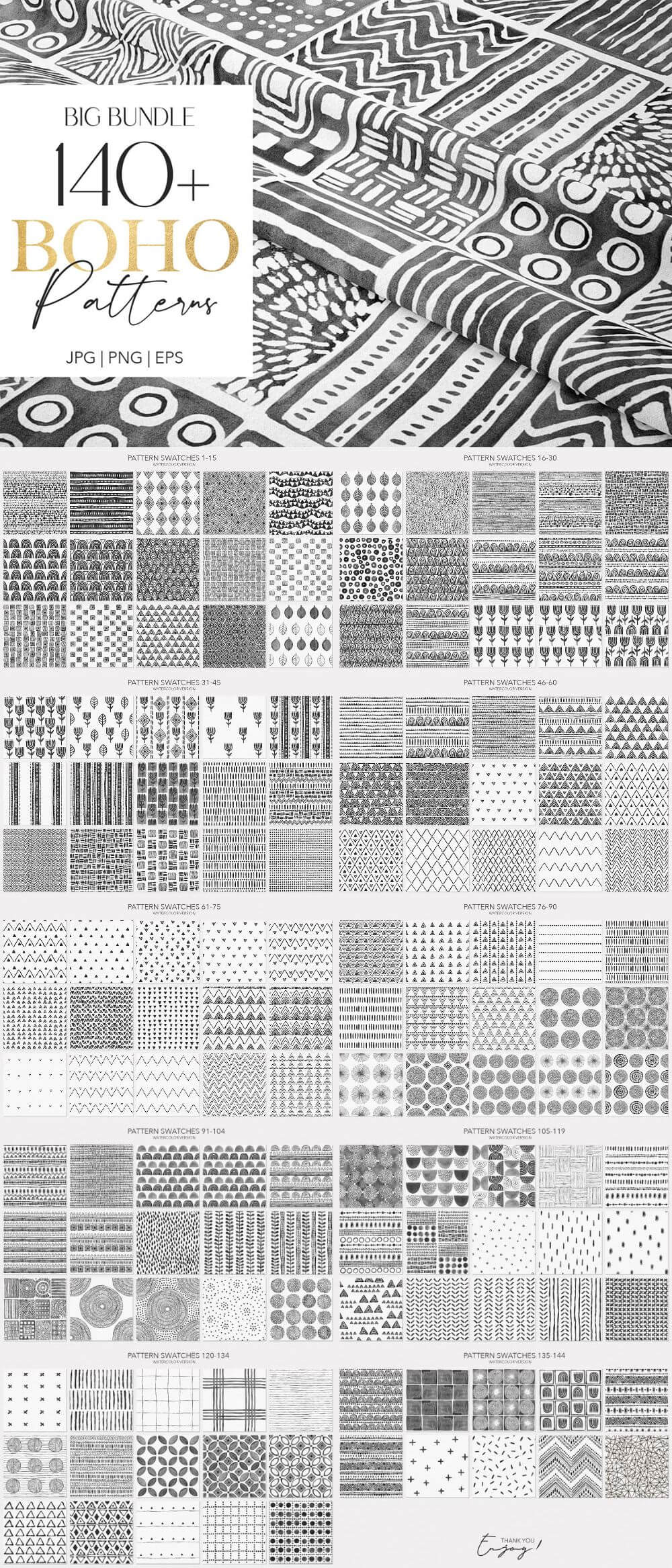Big Boho Handmade Seamless Pattern Pack