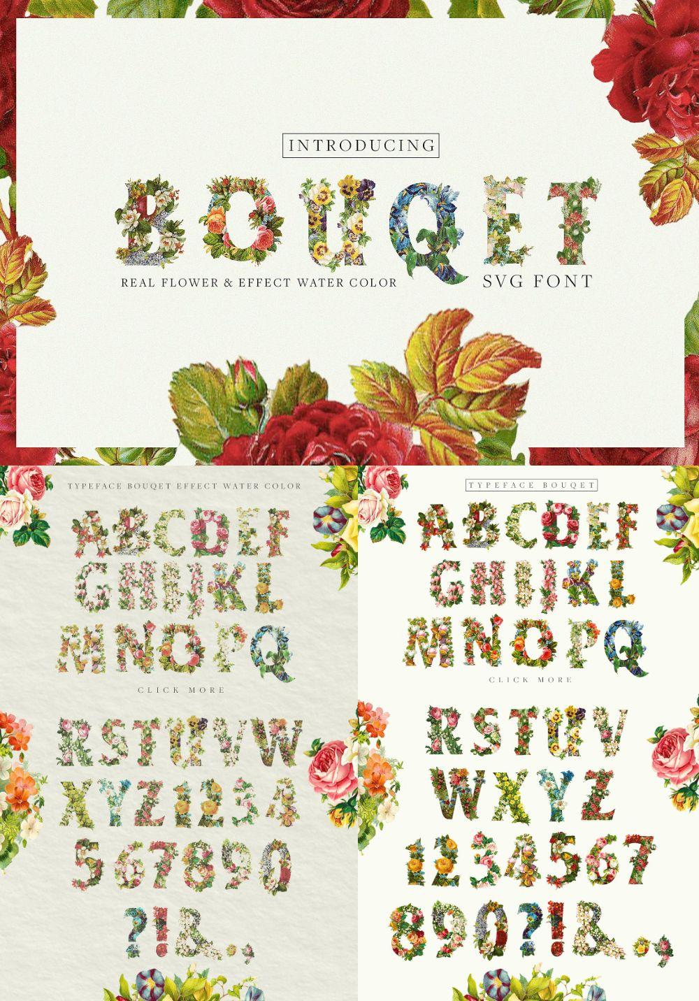 Bouqet Flower & Watercolor SVG Font