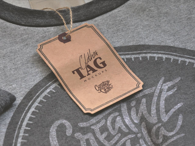 CLOTHES LABEL TAGS PSD MOCKUPS