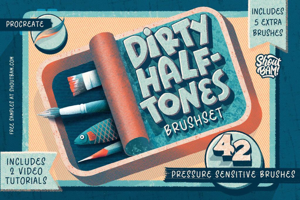 Dirty Halftones BrushSet & Video Tutorials