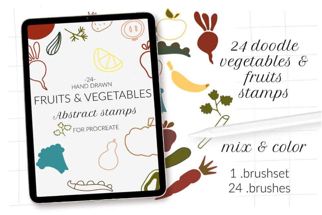 Doodle fruits, veggie Procreate