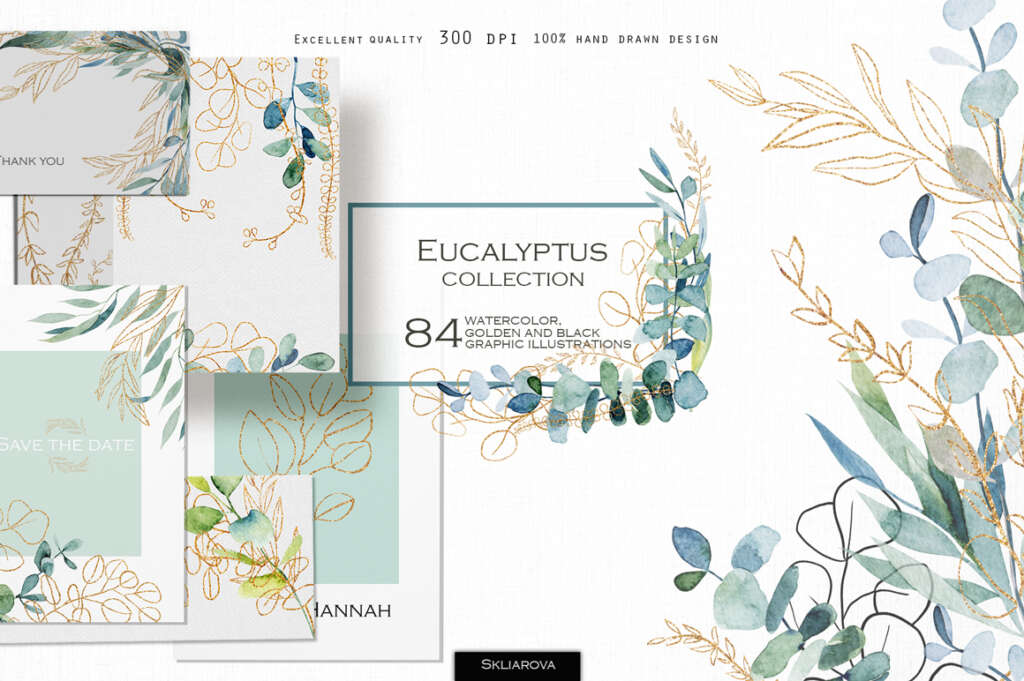 Eucalyptus – Watercolor and Graphic Collection