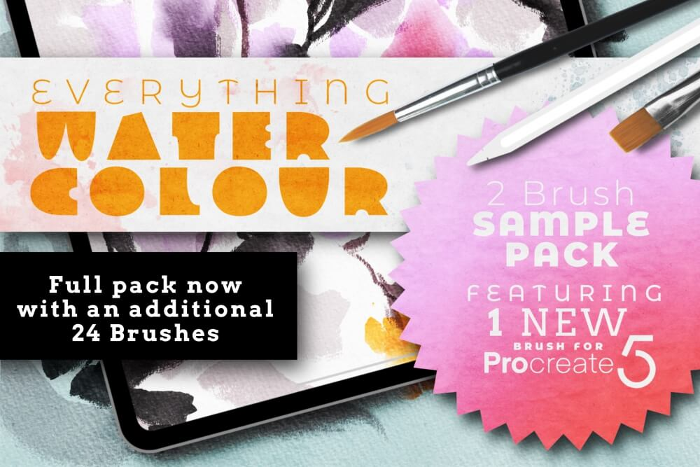 Free: Everything Watercolour for Procreate Sample