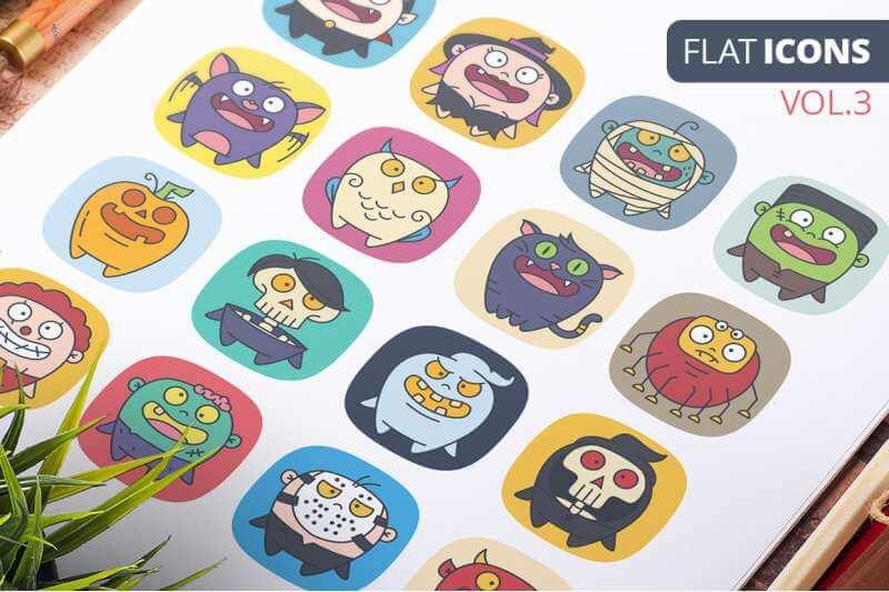 FREE Cute Flat Halloween Characters Vol.3