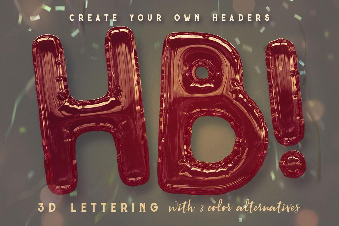 Foil Balloon Free 3D Lettering