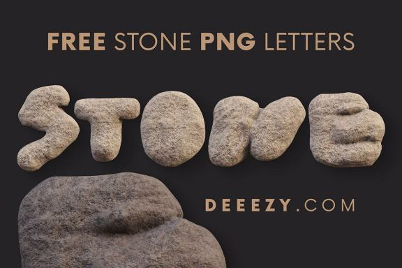Free Rough Stone 3D Lettering