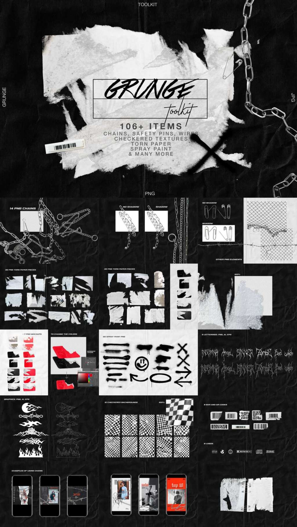 GRUNGE ARTISTIC TOOLKIT TORN PAPER & CHAINS