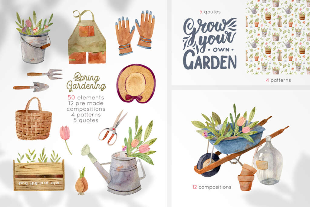 Gardening Tools Watercolor Clipart