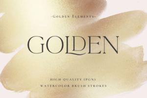 Gold Watercolor Foil & Brush Strokes