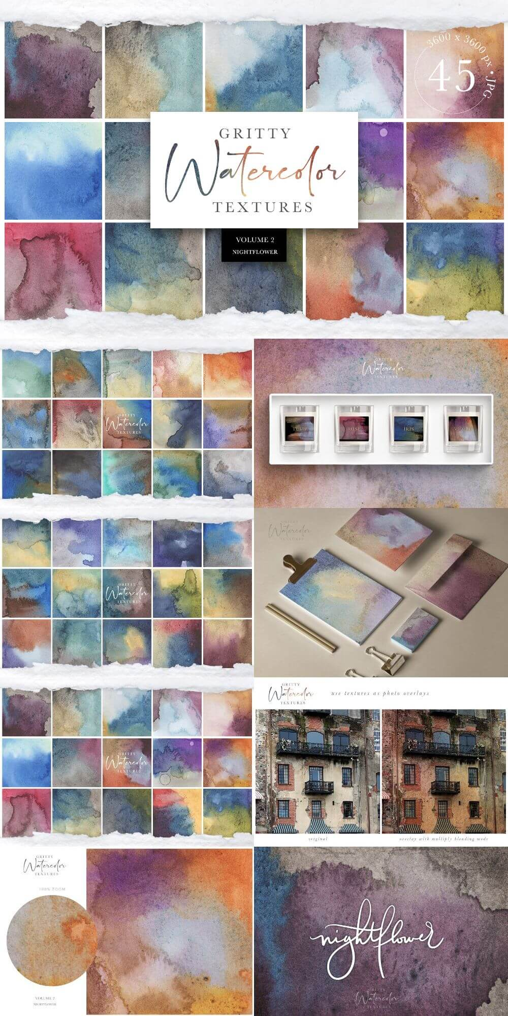 Gritty Watercolor Textures Vol. 2
