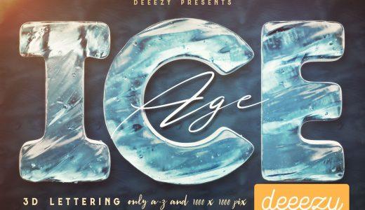 冷たいアイス/氷テクスチャのアルファベット文字素材【夏・クール・メニュー】