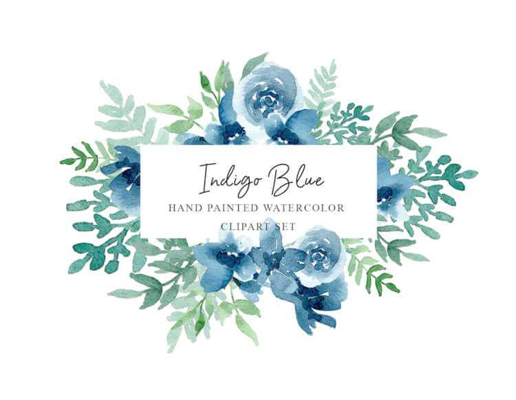 Indigo Blue - Free Floral Watercolor Graphics Pack