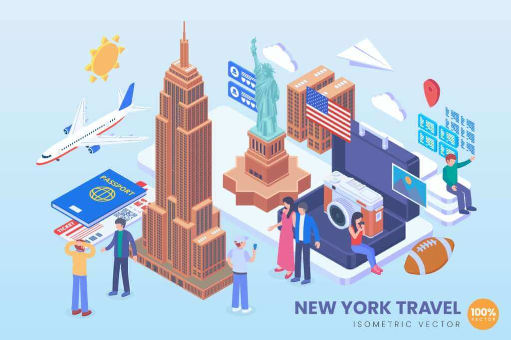 Isometric New York Travel Holiday Vector Concept