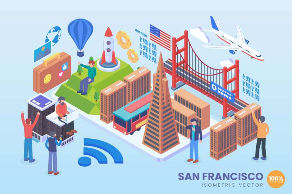 Isometric San Fransisco Holiday Vector Concept