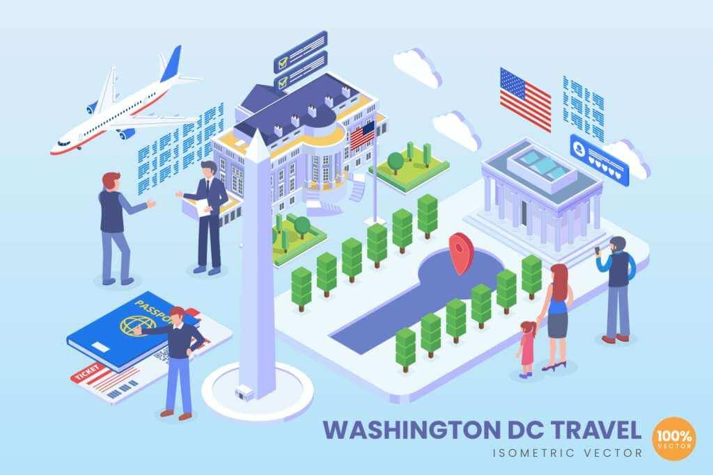 Isometric Washington Travel Holiday Vector Concept