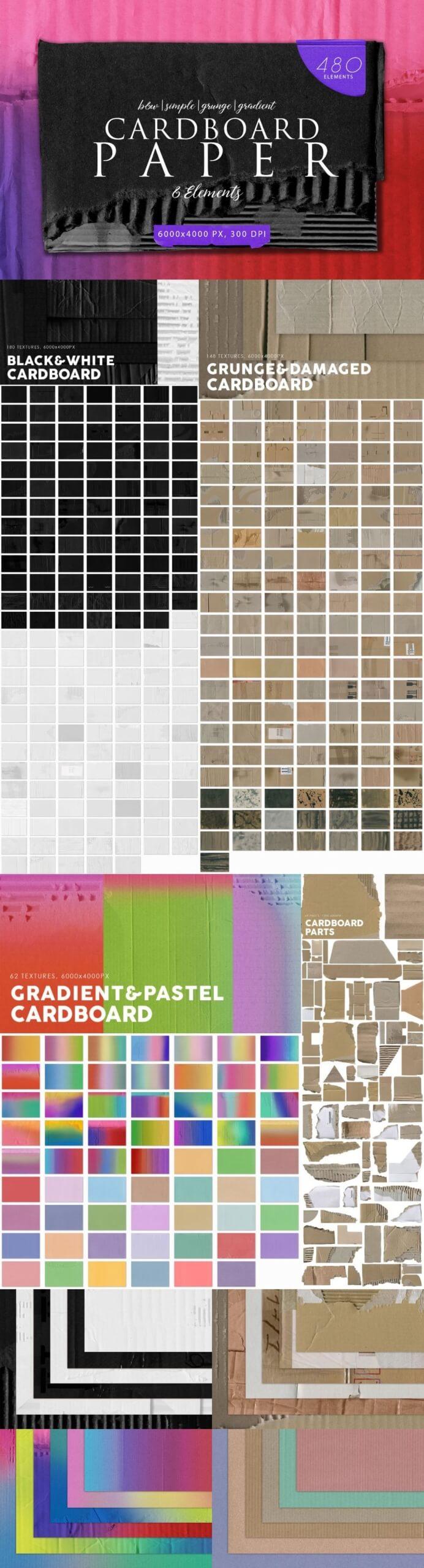 480 Various Cardboard Paper Textures