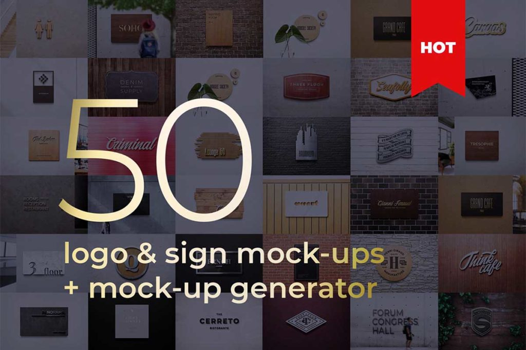 Logo Sign Mockup Generator 3D Branding Bundle