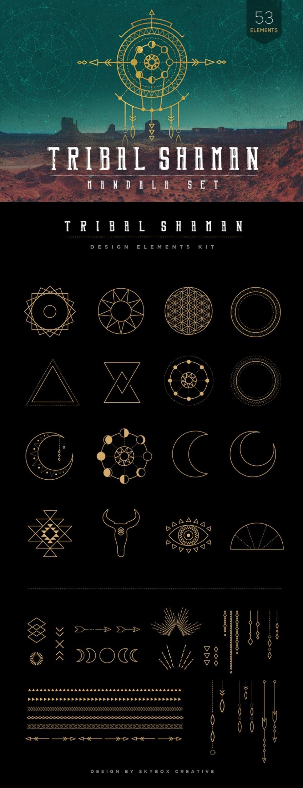 Mandala Set Tribal Elements & Shaman