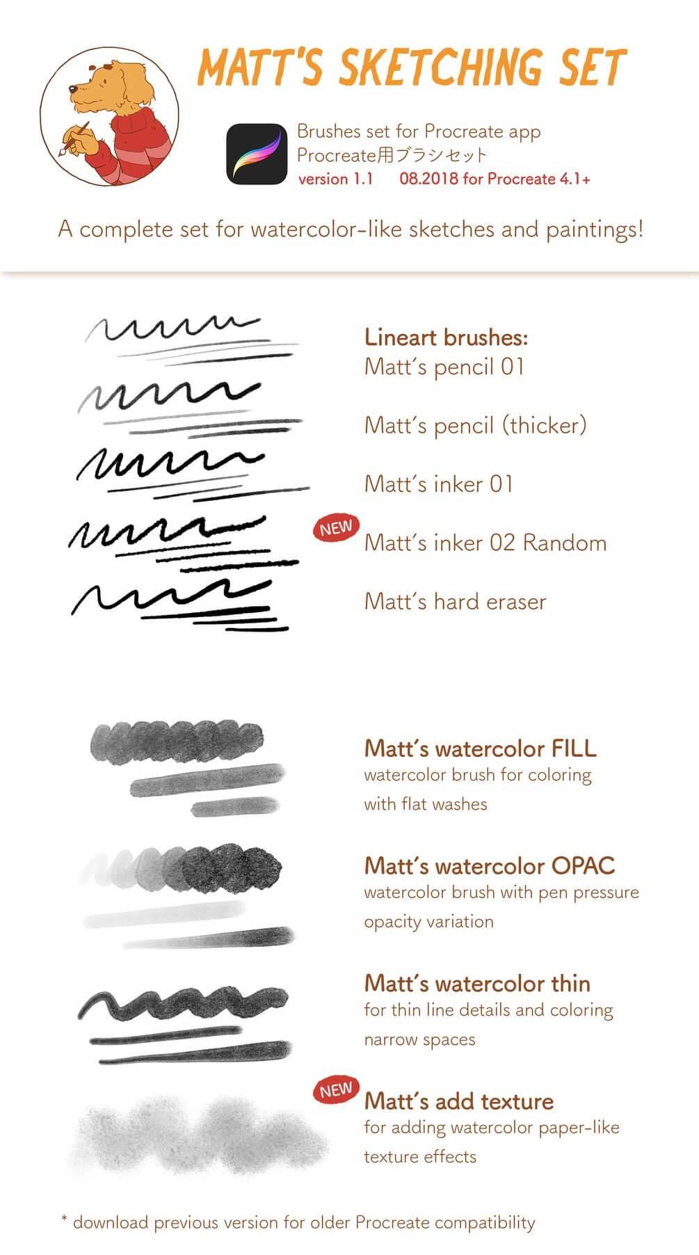 Matt's Sketching Procreate brush set version 1.1