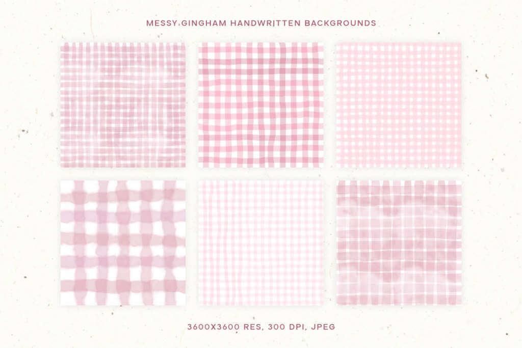 Messy Gingham Handwritten Backgrounds