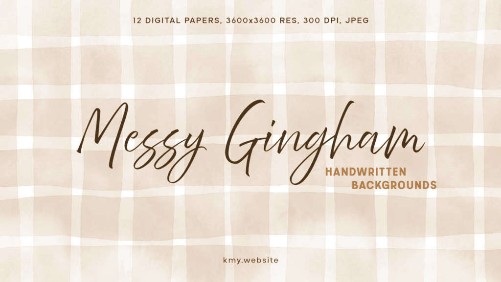 Messy Gingham Handwritten Backgrounds Sepia